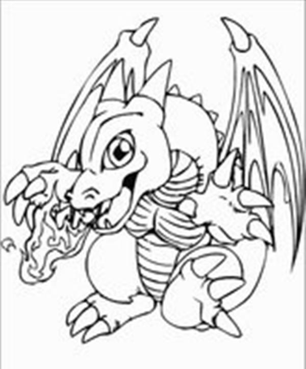 神奇宝贝中喷火龙的简笔画