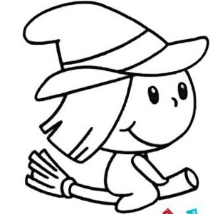 儿童画简笔画小女巫的作品,优秀的简笔画小女巫的图片展示,万圣节可爱小女巫的儿童简笔画展示,既简单又好看的万圣节小女巫的儿童简笔画欣赏.
