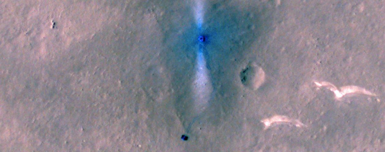 NASA火星轨道飞行器,拍摄到祝融号在火星行驶?