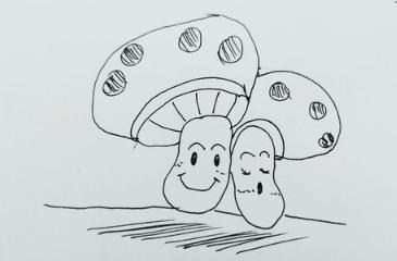 怎么画蘑菇简笔画
