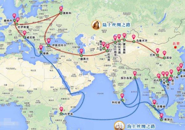 我国古代丝绸之路所经过之的路线图