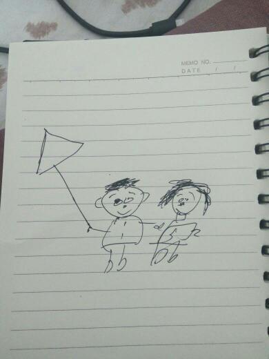放风筝的小男孩和小女孩怎么画简笔画