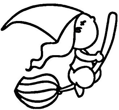 儿童画简笔画小女巫的作品,优秀的简笔画小女巫的图片展示,万圣节可爱小女巫的儿童简笔画展示,既简单又好看的万圣节小女巫的儿童简笔画欣