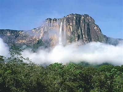 天使瀑布;安赫尔瀑布的瀑布背景