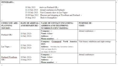 美国个人旅游签证时用的行程表范本