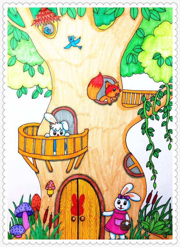 卡通简笔画 树屋怎么画