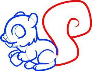 如何画松鼠简笔画 幼儿简笔画教程 简笔画松鼠的画法 7