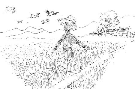 稻草人配稻田怎么画一简笔画百度经验