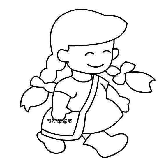 即卡通又可爱的小女孩简笔画